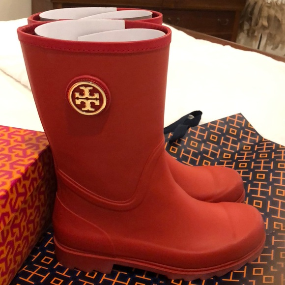 aad7b1d31eb Tory Burch Maureen red rain boots almost new. M 5bbb8dba9fe486ca862f8d32